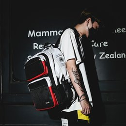 large rucksack backpack NZ - HipHop Style Backpack Panelled School Bag For Teenage Boys Large Capacity Fashion Male Stundent Travel Backpack Rucksack SH190924