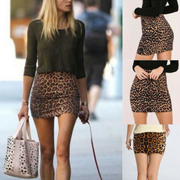 ingrosso gonne leopardo-Vendita calda Donne Sexy Super Mini Leopard Gonne Moda Alta Wasit Skinny Pencil Gonna Autunno Estate Ladies Nightclub Partywear