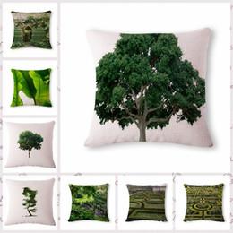 $enCountryForm.capitalKeyWord Australia - Green Watercolor Tree Pattern Cotton Flax Pillow Back Cushion