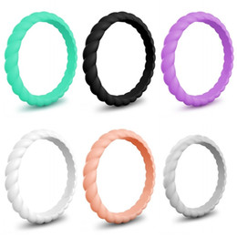 SportS coStume woman online shopping - 3mm Twist Ring Silicone Rubber Braid Mulitcolor Sports Rings Wedding Suplies Simplicity Women Jewelry Party Favor ns E1