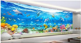 Marines Housing Australia - WDBH 3d wallpaper custom photo mural Marine dolphin fish coral seaweed Home decor living room 3d wall murals wallpaper for walls 3 d