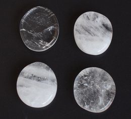 $enCountryForm.capitalKeyWord Australia - 4 Pieces Natural Clear Quartz Semi-precious Stones Carved Crystal Reiki Healing Palm Stones with a Free Pouch