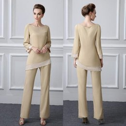 $enCountryForm.capitalKeyWord NZ - 2019 Newest Champagne Mother Of The Bride Pants Suit Beads Two Pieces Jewel Neckline Cheap Mothers Formal Outfit Long Sleeve Pantsuits