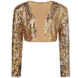 short sleeve bolero cardigan Australia - Sparkly Sexy Women Sequin Cardigan Jacket Coat Long Sleeve Short Cropped Bolero Shrug Clubwear Vintage Party Costumes V191014