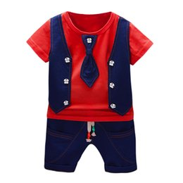 halloween t shirts for kids Australia - 2019 Summer Kids Boys Clothes Gentleman Suit For Baby Boy Children Clothing Set 2pcs T Shirt Shorts Pants Outfit 1 2 3 Years