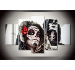 $enCountryForm.capitalKeyWord Australia - Day of The Dead Face,5 Pieces Home Decor HD Printed Modern Art Painting on Canvas (Unframed Framed)