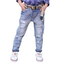 $enCountryForm.capitalKeyWord Australia - 2019 autumn new female children's tide Fan hole jeans big children light color feet pants