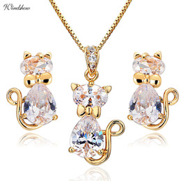 $enCountryForm.capitalKeyWord NZ - Cute Cat Stud Earrings Necklaces & Pendants Pave CZ Gold Color Jewelry Sets For Women Children Kids Girls Gatos Jewellery Gifts