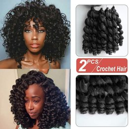 hottest curling wand NZ - Hot Sale! 8 Inch 2 Pcs Jamaican Bounce African Collection Crochet Braiding Hair Wand Curly Braids Synthetic Twist Hair(2pcs lot,1B#)