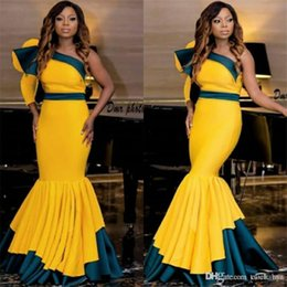 $enCountryForm.capitalKeyWord NZ - African Mermaid Prom Dresses One Shoulder Ruffles Satin Two Colors Evening Dresses Formal Women Wear Pleats Floor Length homecoming dresses