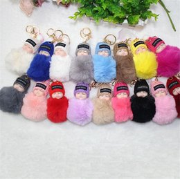 Dolls fur balls online shopping - Cute Sleeping Baby Doll Keychain Pompom Rabbit Fur Ball Carabiner Key Chain Keyring Women Kids Key Holder Bag Pendant key ring kids toys