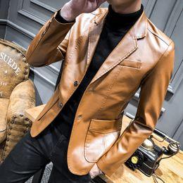 $enCountryForm.capitalKeyWord Australia - Korean Autumn PU Leather Blazers Men Casual Mens Suit Jacket Casual Slim Motorcycle Faux Leather Suit Homme Costume #556023