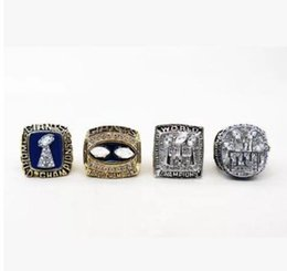 Hot Bar UK - 4pcs New hot sale champion ring 1990 1986 2007 2012 men's jewelry ring Fan souvenir ring Size 11