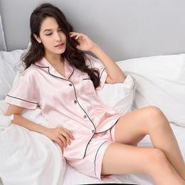 Chinese Pajamas Suits Australia - Women Chinese Satin Silk Pajamas Sets 2018 Summer Style T-shirt & Shorts Female Superior Sleepwear Nighty Suit Summer Casual