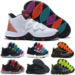 Rainbow Basketball Shoes NZ - 2019 new Kyrie Taco Black Magic Sky star Mens Kids Basketball Shoes Chaussures 5s 5 Men Rainbow Black White Sports Sneakers