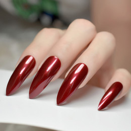 fake nails white tips NZ - Extra Long Sharp Stiletto False Nails Tips Claret-red Bordeaux Red Pointed Stilettos UV Gel Salon Party Press on Fake Nail Art