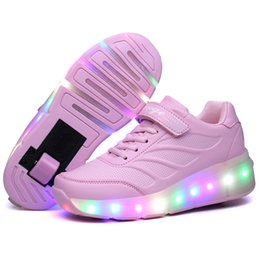 Wheel boys shoes online shopping - Kids Glowing Sneakers Sneakers With Wheels Led Light Up Roller Skates Sport Luminous Lighted Shoes For Kids Boys Pink Blue Black Y190525