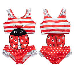 Baby Girl Summer Suits Australia - Newborn Baby Girls Bathing Suit Ladybug Kids Girls Ruffles Embroidery pattern One Piece Patchwork Swimsuit Summer Girls Swimwear Banadors