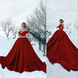 $enCountryForm.capitalKeyWord NZ - Dark Red Wedding Dresses 2019 Off Shoulder Lace Appliques Sweep Train Puffy Ball Gown Plus Size Formal Boho Bridal Gowns