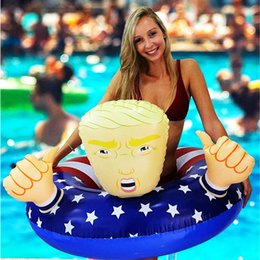 swim ring wholesale Australia - President Trump Swim Ring Inflatable Cartoon Floats 110cm Giant Thicken Summer Fun Toy Beach Play Water Float Seat American Flag A32004