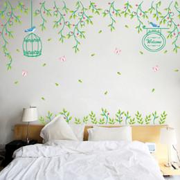 $enCountryForm.capitalKeyWord Australia - Fresh flowers vine wall art decor decals diy wall stickers living room bedroom home murals Bird cage vinyls removable