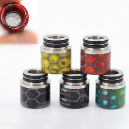 $enCountryForm.capitalKeyWord Canada - Anti-frying Oil Snakeskin Resin Stainless Steel 510 thread Drip Tip Filter Net Mouthpeice SS for Vape TFV8 TFV12 Resa Prince