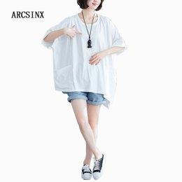 Oversized White Shirt Women Australia - ARCSINX Oversized T-shirt Women Cotton Women's White T-Shirt Plus Size 5XL 6XL 7XL 8XL 9XL Summer Short Sleeve T Shirt Women
