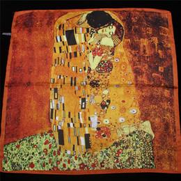 $enCountryForm.capitalKeyWord Australia - 2019 New Arrival Twill silk scarf Women Klimt oil painting kiss Design print shawls&wraps Female Foulard Kerchief 55cm*55cm