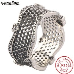 Hollow Fingers Australia - Vecalon Vintage Hollow Heart ring Real 100% 925 Sterling Silver Diamond Party wedding band rings For women men Finger Jewelry