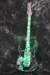 Led Lighting eLectric guitar online shopping - Starshine LED Electric Guitar DK F7VG Full Acrylic Body Neck Gold Hardware FR Bridge Flower Inlay Green LED Light