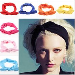 $enCountryForm.capitalKeyWord Australia - Wholesale- 2015 korean boutique rabbit bunny ears top knotted twist headbands for women adult infant girls baby head wraps hair band turban