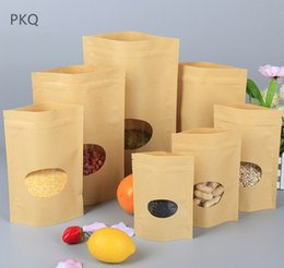 Paper Packing Bags Australia - 100Pcs Heat Seal Stand Up bag Valve Ziplock Kraft Paper Pack Bags Frosted with clear Window Biscuit Doypack Zipper Storage Pouch