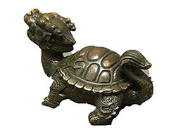Fengshui dragon online shopping - Old Chinese FengShui Bronze Copper Longevity Dragon Turtle Tortoise Statue
