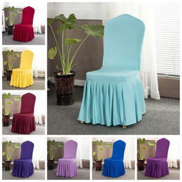 Plain chair covers online shopping - 16 Colors Solid Chair Cover with Skirt All Around Chair Bottom Spandex Skirt Chair Cover for Party Decoration Chairs Covers CCA11702