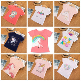 a2f6b78e Baby girls summer casual T-shirt unicorn horse pony printed girl sweet tshirt  tops kids cotton tees