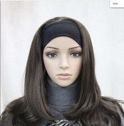$enCountryForm.capitalKeyWord Australia - WIG FREE SHIPPING Hot heat resistant Party hair>>>>>Excellent Dark Brown Medium long women Daily 3 4 half wig with headband wig