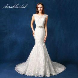$enCountryForm.capitalKeyWord Australia - Elegant Ivory Lace Wedding Dresses Sheer Neck Sleeveless Zipper Back Button Court Train Long Bridal Gowns robe de mariee SW080