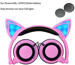 Yellow Gaming Laptop Australia - Wired Cat Ear headphones LED Ear headphone cat earphone Flashing Glowing Headset Gaming Earphones for Children For PC Laptop