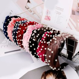 Pearl ladies online shopping - Fashion Pearl Velvet Headband Soft Simple Woman Bead Knotted Wide Hairband Cute Lady Party Hair Accessories TTA1071