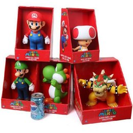 Koopa Figures Australia - Retail 5 Styles 9'' 23cm Super Mario Bros Mario Yoshi Luigi Koopa Bowser Toad PVC Action Figures Toys with Box Free Shipping