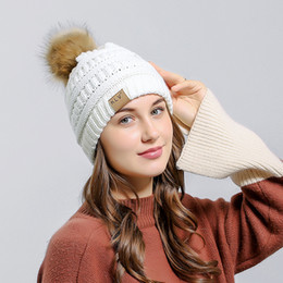 Soft black hair dye online shopping - Women New Velvet Warm Beanies Hat Curling Hair Ball Fashion Knitted Wool Fleece Caps Female Mixed Color Soft Caps Ladies