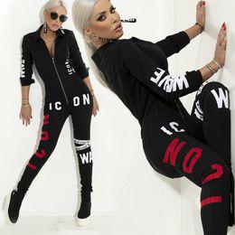 Black Jumpsuit Romper Women Australia - Turn Down Collar Long Sleeve Sexy Black Bodysuit Women Zipper Bodycon Skinny Letter Printed Romper Elegant Spring Jumpsuit
