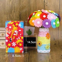 mothers crafts UK - Potted plant Diy Crafts Button Bouquet Clasp Three layers of flowers Make Material Package Mothers Day Gifts