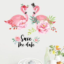 Girl bedroom wall stickers online shopping - 60 cm ins kids flamingo flower wall pictures for living room bedroom decoration colorful girl heart stickers waterproof home decor