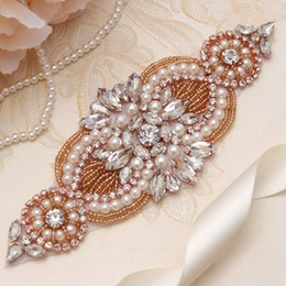 $enCountryForm.capitalKeyWord NZ - MissRDress Bridal Sash Belt Rose Gold Crystal Pearls Rhinestones Beads Ribbons Wedding Belt Sash For Women Normal Dress YS845
