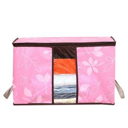 Fabric Clothes Storage Australia - Quilt Storage Bag Clothing Organizer Fashion Flower Printed Storage Bags Dustproof Cover Clothes Bags 4 Colors