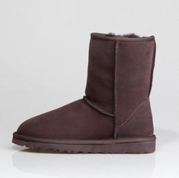Women Winter Shoes 36 Australia - 2019 Snow Winter WGG Leather Women Australia Classic kneel half Long Boots Ankle Black Grey chestnut navy blue red Womens girl SHOES 36-41
