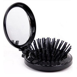 Wholesale Compact Brushes UK - 100Pcs High Quality Portable Mini Folding Comb Girls Airbag Folding Comb Travel Hair brush With Compact Mirror