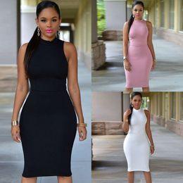 $enCountryForm.capitalKeyWord Australia - 2019 Sleeveless Sexy Club Bandage Mini Dress Black White Pink Short Party Dress Robe femme Women Package Hip Bodycon Vestidos 2218