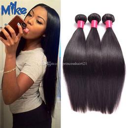 Pure Original Human Hair Canada - MikeHAIR Wholesale Peruvian Hair Bundles Raw Indian Malaysian Brazilian Natural Straight Hair Extensions 3 Pieces Original Human Hair Weaves